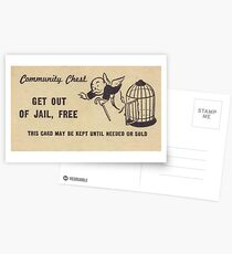 """Monopoly """"Get Out of Jail"""" Postcards"""