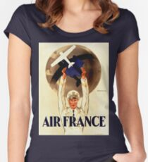 Vintage Travel Poster - France - Air France  Women's Fitted Scoop T-Shirt