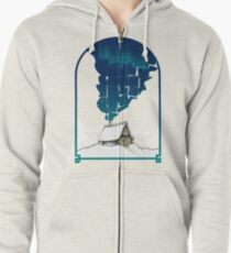 Winter Cottage In Frame Zipped Hoodie