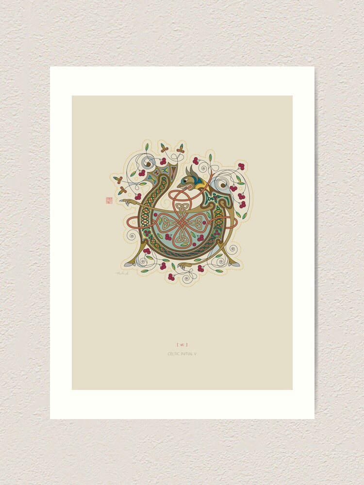 Alternate view of Celtic Initial V Art Print