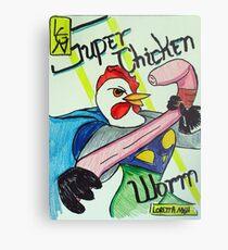 Super Chicken vs Worm Metal Print