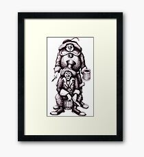 Clowns black and white pen ink drawing Framed Print