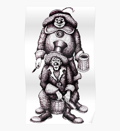 Clowns black and white pen ink drawing Poster