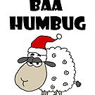 Funny Sheep Baa Humbug Christmas pun Cartoon by naturesfancy