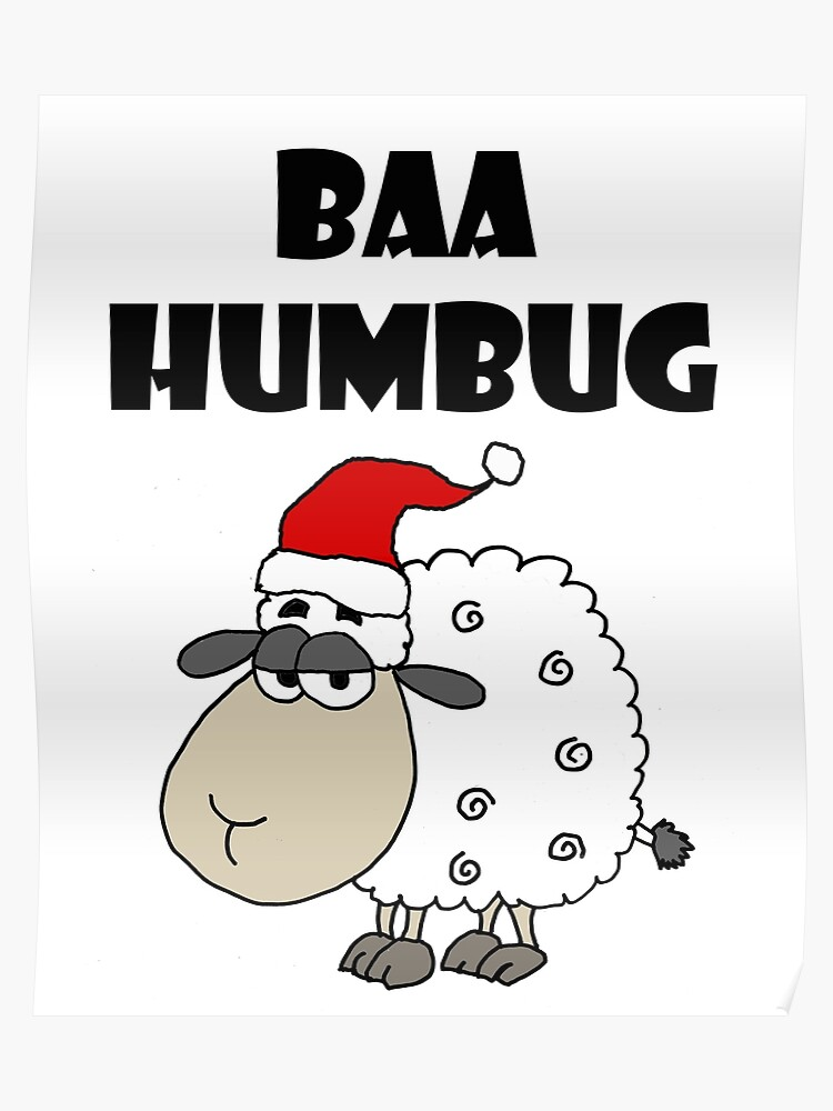 Christmas Pun.Funny Sheep Baa Humbug Christmas Pun Cartoon Poster