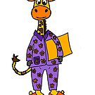 Cute Giraffe wearing Purple Pajamas Cartoon by naturesfancy
