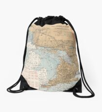 Vintage Great Lakes Lighthouses and Sailing Routes Map (1915) Drawstring Bag