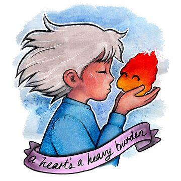 A HEART'S A HEAVY BURDEN - WATERCOLOUR by sianbrierley