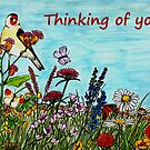 Flower Meadow - Thinking of You Card by EuniceWilkie