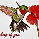 Humming Bird - Thinking of You Card by EuniceWilkie