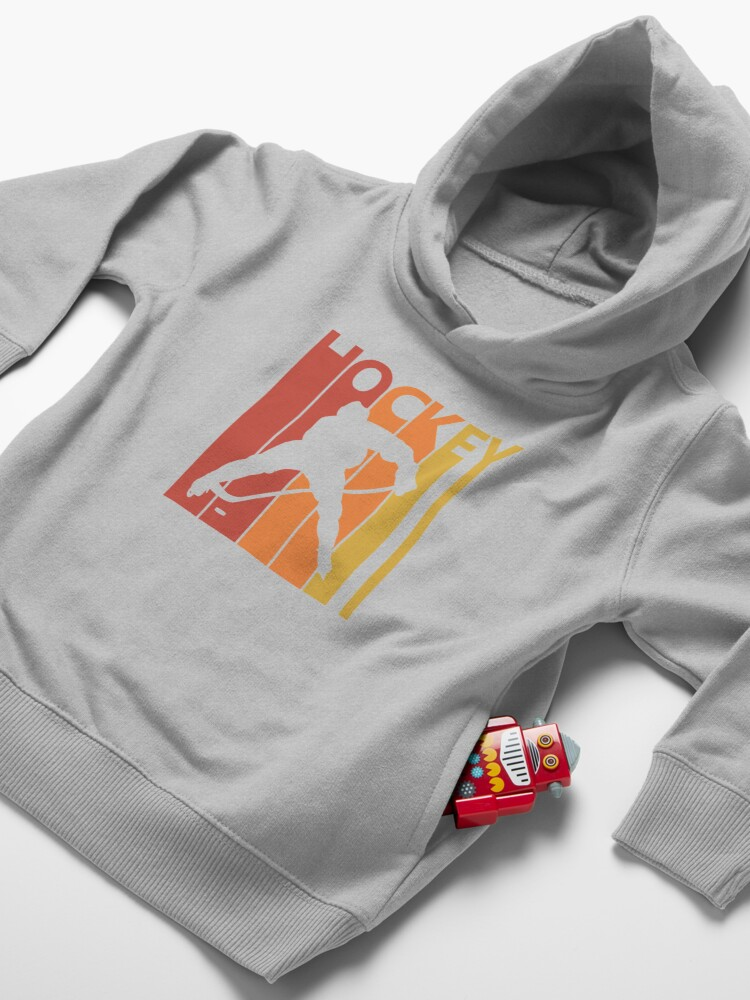 Alternate view of Vintage Retro 1980s Hockey Gift Toddler Pullover Hoodie