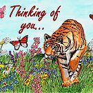 Tiger in a Perfect World - Thinking of You Card by EuniceWilkie