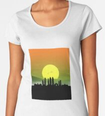 Mumbai Skyline Gradient Design | India Sunset | T Shirt | Poster | Duvet | Clock | iPhone, Samsung and Tablet Case | Pillow and more Women's Premium T-Shirt