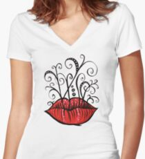 Weird lips ink drawing Women's Fitted V-Neck T-Shirt