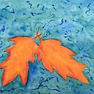 Fall Leaves on an abstract teal background by lisavonbiela