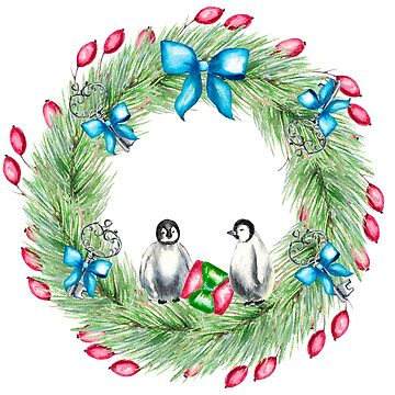 A couple Christmas penguins, wreath, old key, christmas tree, gifts, berries by ArtOlB
