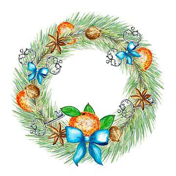 Christmas tangerines, wreath, old keys, christmas tree, spices by ArtOlB
