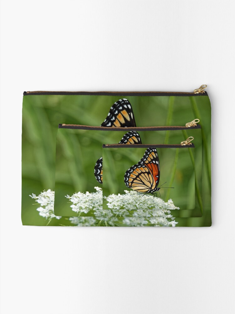 Alternate view of Viceroy Butterfly on Queen Anne's Lace Zipper Pouch