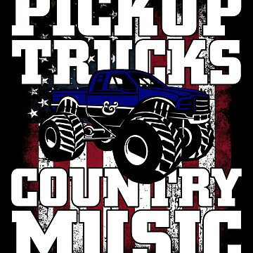 Pickup Trucks & Country Music Hoodie American Flag by ThreadsNouveau