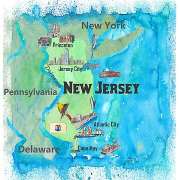 USA New Jersey Travel Poster Map With Highlights And Favorites by artshop77