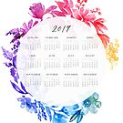 2019 calendar: ombre watercolor floral wreath by blursbyai