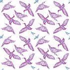 Cormorants pattern - purple by Sally Barnett