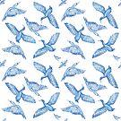 Cormorants pattern - blue by Sally Barnett
