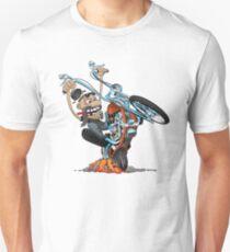 Funny biker riding a chopper, popping a wheelie motorcycle cartoon Unisex T-Shirt