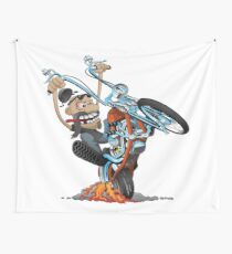Funny biker riding a chopper, popping a wheelie motorcycle cartoon Wall Tapestry