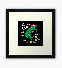 Tyrannosaurus Rex Dinosaur Christmas Framed Print