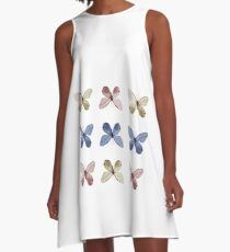 colorful butterflies pattern collage A-Line Dress