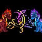 Arcane & Fire Elemental Dragons by Rebecca Golins