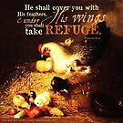 Psalms 91:4 Bible Verse Chicken Wings Refuge Print by ScripturePics