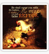 Psalms 91:4 Verse Chicken Print Sticker