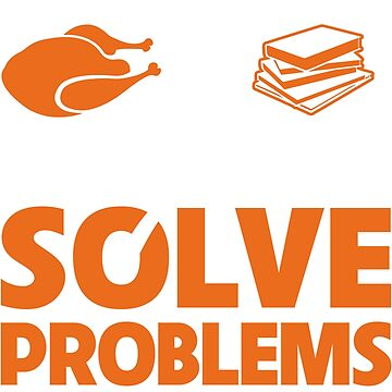 Funny Thanksgiving Turkey and Books Solve Problems by Adik