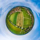 Spherical panoramic view like a planet of rural place in Alsace by Alexander Sorokopud