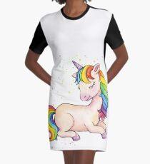 Sleeping Rainbow Unicorn Graphic T-Shirt Dress