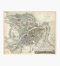 Vintage Map of St Petersburg Russia (1834) Photographic Print