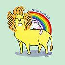Feline Fabulous - Lion & Kitty Cat with Rainbow by zoel