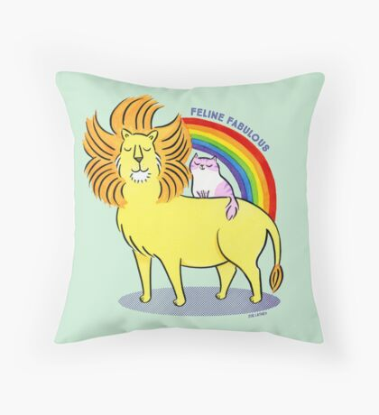 Feline Fabulous - Lion & Kitty Cat with Rainbow Floor Pillow