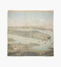 Pañuelo Mapa pictórico vintage de la ciudad de Nueva York (1854)