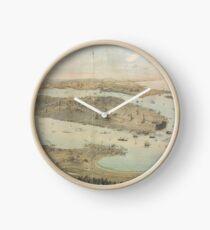 Reloj Mapa pictórico vintage de la ciudad de Nueva York (1854)