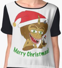 Merry Christmas Hormone Monster - Big Mouth Chiffon Top