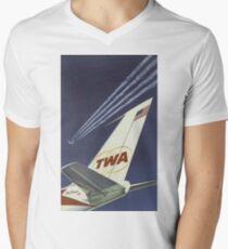 1960's TWA Travel Poster V-Neck T-Shirt