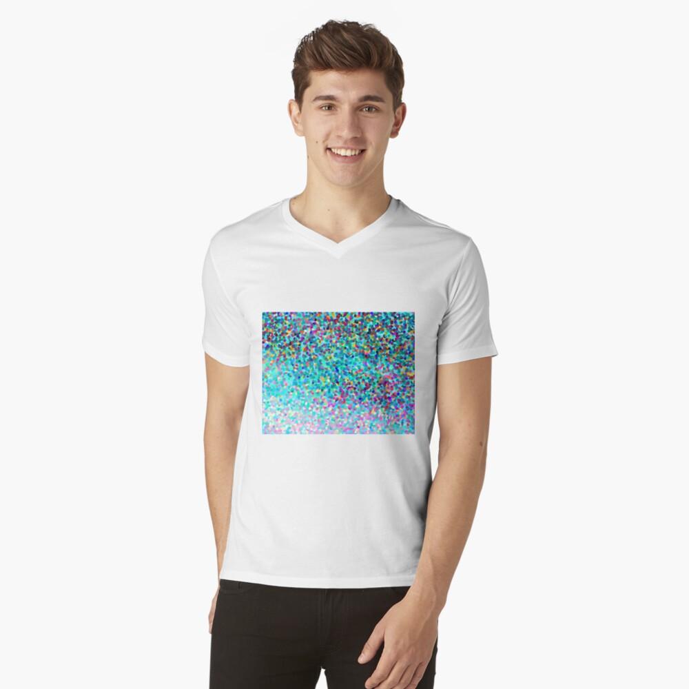 Aqua Blue Mehrfarbige Abstrakte Kunst Formt Muster T-Shirt mit V-Ausschnitt