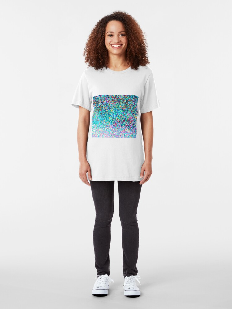 Alternative Ansicht von Aqua Blue Mehrfarbige Abstrakte Kunst Formt Muster Slim Fit T-Shirt