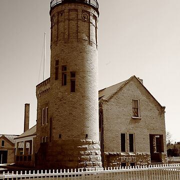 Lighthouse - Mackinac Point, Michigan in Sepia by Ffooter