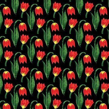 Bold Modern Bright Red and Yellow Flowers on Black Background by ElainePlesser
