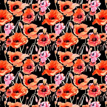 Bold Red and Pink Poppy Flowers on Black by ElainePlesser