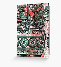 Xmas Baubles 13 -  Gelli Plate Print and Ink Greeting Card